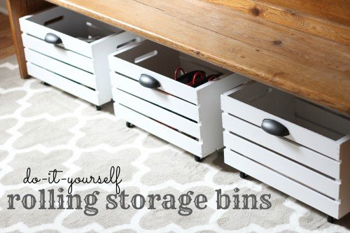 DIY Rolling Storage Bins that are perfect for storage.