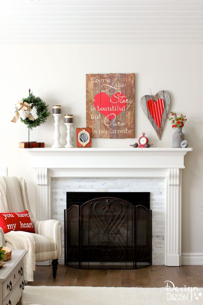 Vintage and Rustic Style Valentine's Day Mantel Decorations Ideas via Design Dazzle