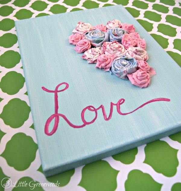 Darling DIY Rolled Fabric Flowers Art for Valentine's Day Decor!