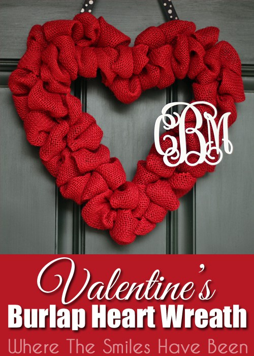 Valentine's Burlap Heart Wreath that is perfect for your front door this Valentine's Day!
