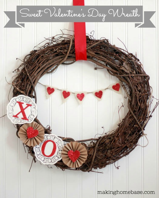DIY Valentine's Day Wreath that is so sweet!