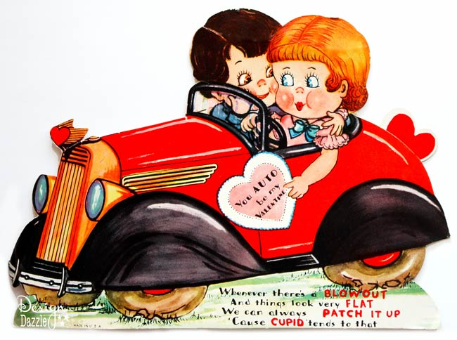 Vintage Car Valentine - You Auto Be My Valentine! Free printable - Design Dazzle