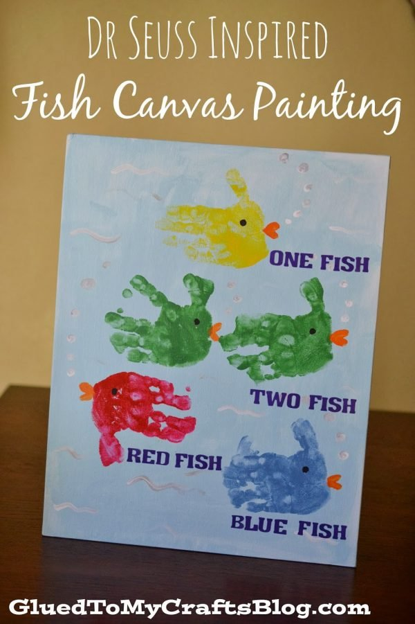 Fish Canvas Painting for Dr. Suess' Birthday Celebration!!