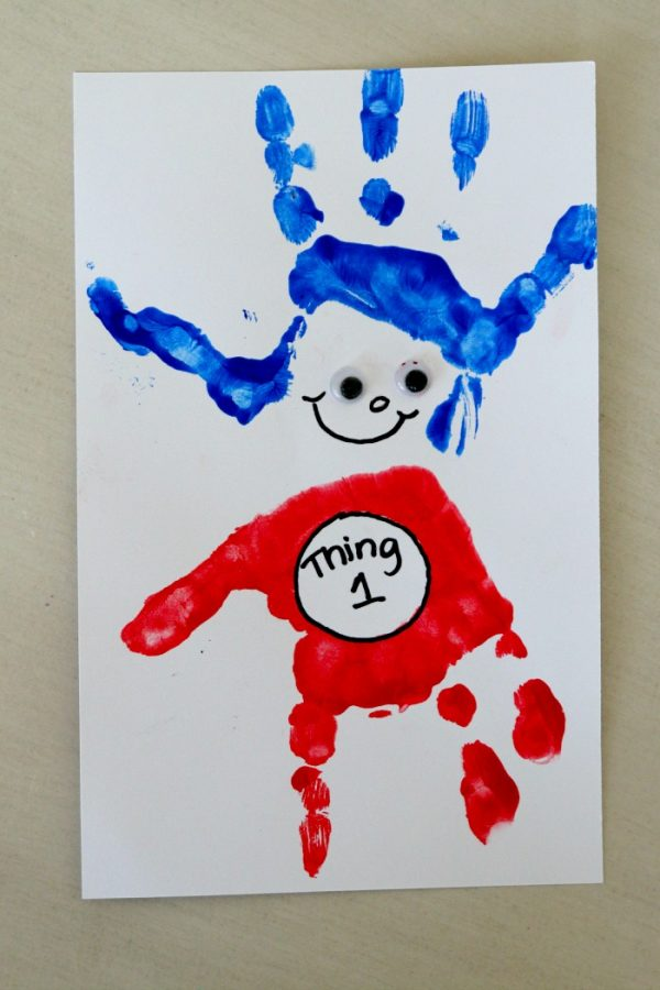 Darling Thing One Handprint Art to celebrate Dr. Suess' Birthday on March 2!
