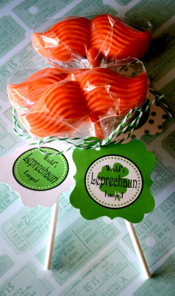 Make Leprechaun Mustache Lollies with free printable St. Patrick's Day tag.