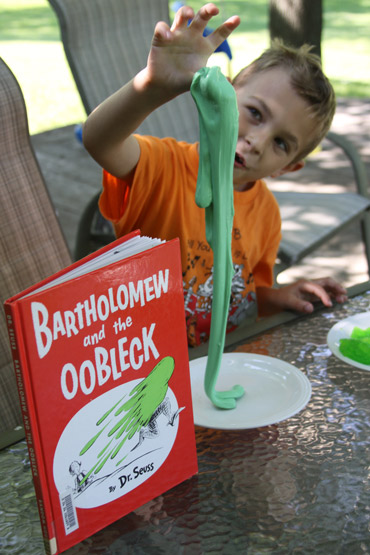 Make OOBLECK from Bartholomew and the Oobleck to celebrate Dr. Suess' Birthday!