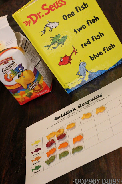 One Fish Two Fish Chart! Great to celebrate Dr. Suess' Birthday and eat goldfish!
