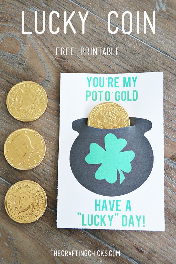 Gold Coin free printable for St. Patrick's Day.
