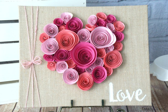 Spiral Paper Flower Heart for Valentines Decor. DIY Valentine's craft that is whimsical and romantic.
