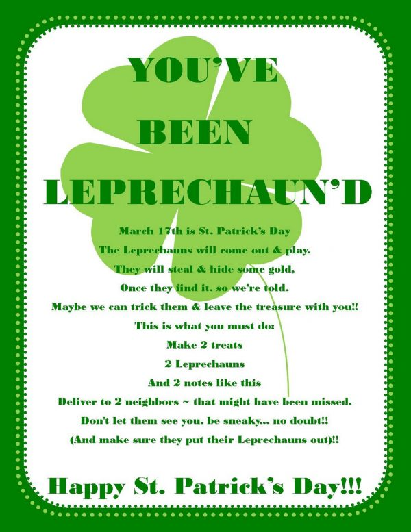 You've been Leprechauned free printables for St. Patrick's Day.