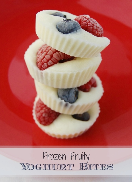 Easy to make Frozen Fruity Yogurt Bites. Great healthy snack for that afternoon slump!