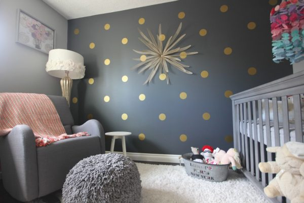 Polka Dot Bedrooms for Kids: Navy Background for Polka Dots in a Kids Bedroom! Love this subtle change with the dark background.