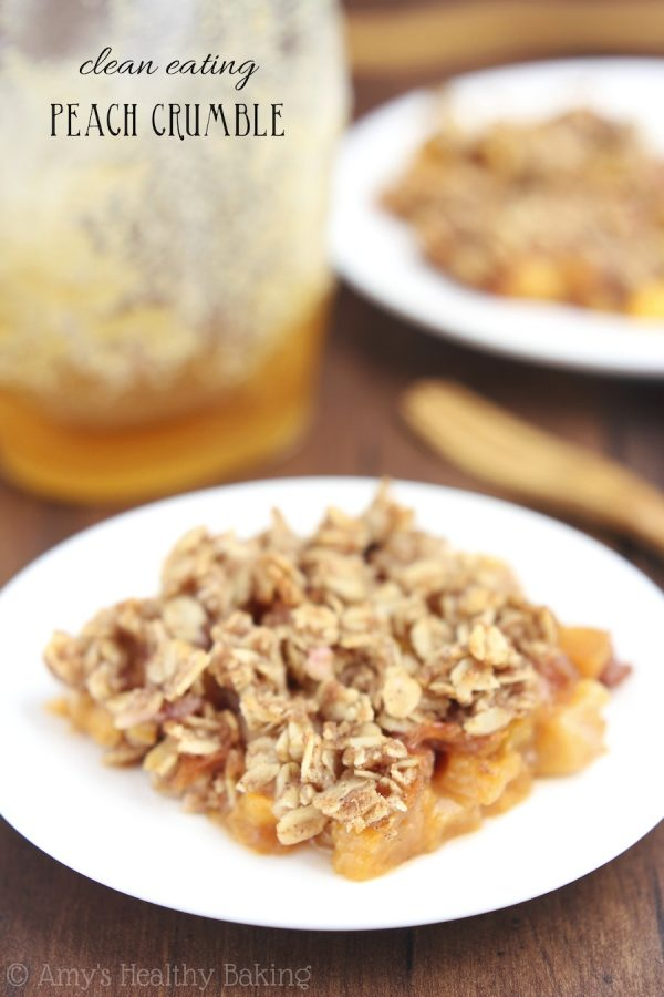 Clean Eating Peach Crumble! Delicious Healthy Dessert Recipe that is great for guests. Easy to make and healthy!