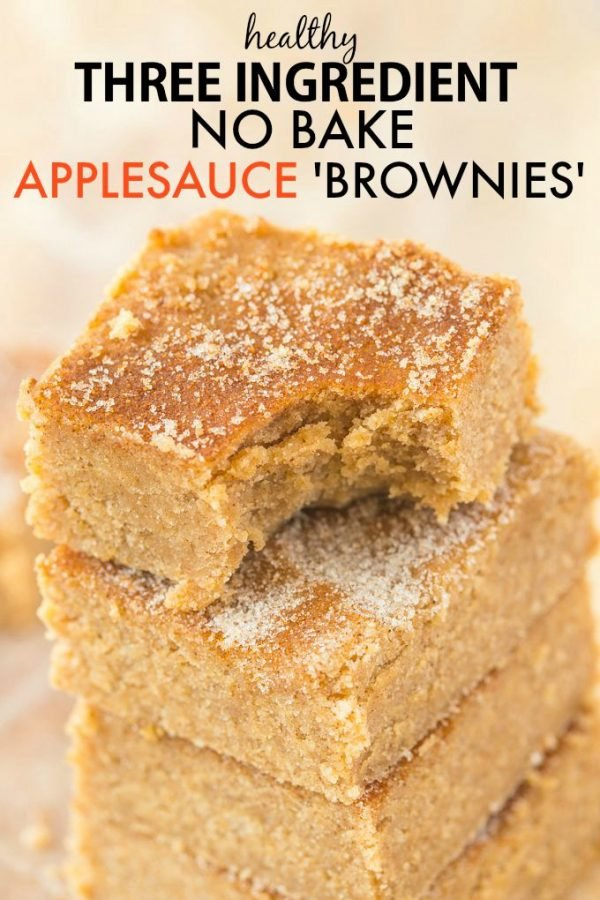 No bake applesauce brownies for a healthy snack idea!
