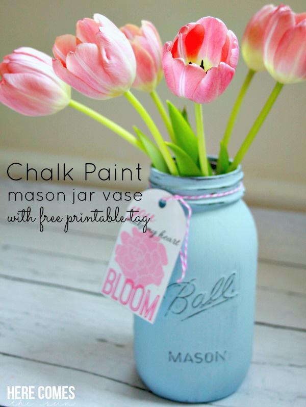 Chalk-Painted Mason Jar Vase