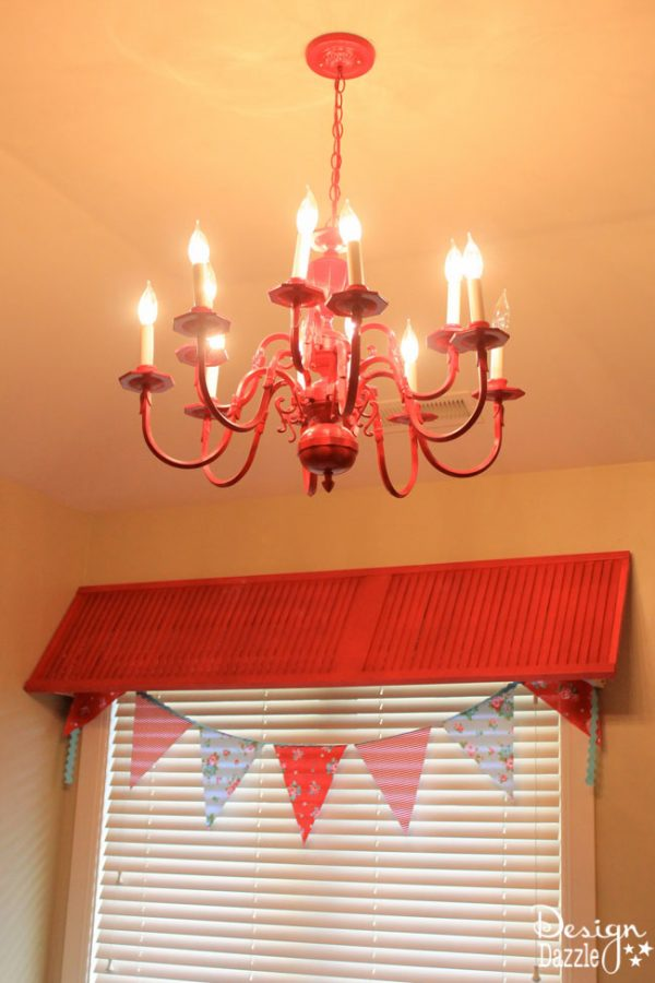 Red CHandelier and Shutter Valance in Shabby Chic Guest Room