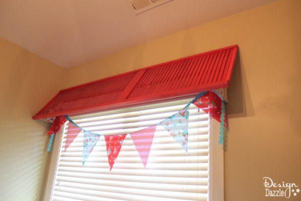 Red DIY Shutter Window Valance