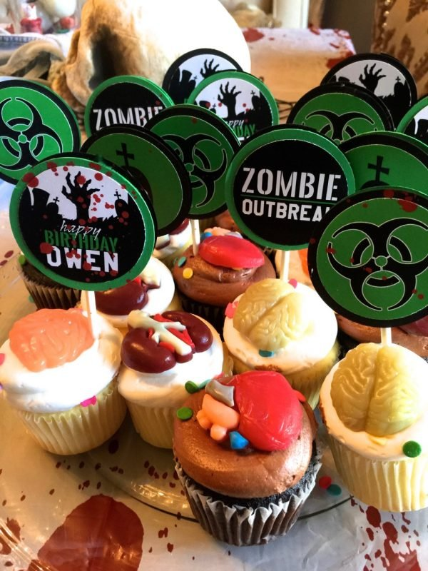 zombie party cupcake toppers