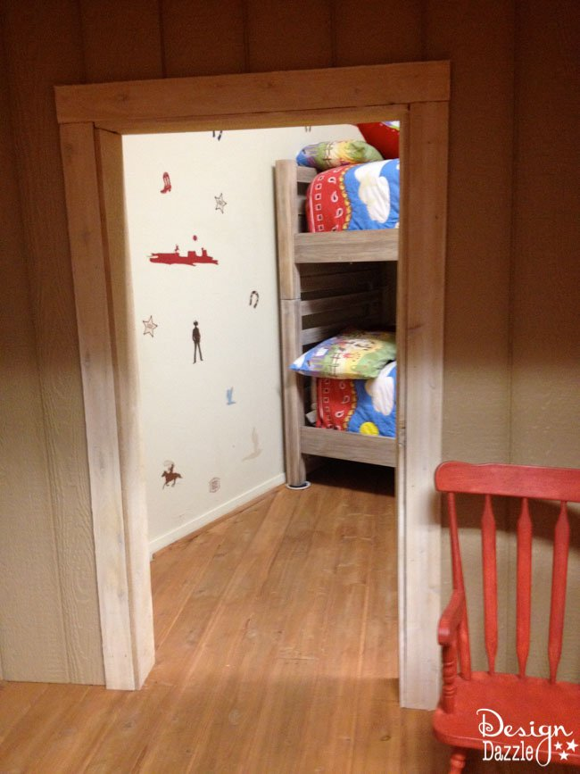Kids Western Bunk Room ideas including the wanted pictures of the kids!