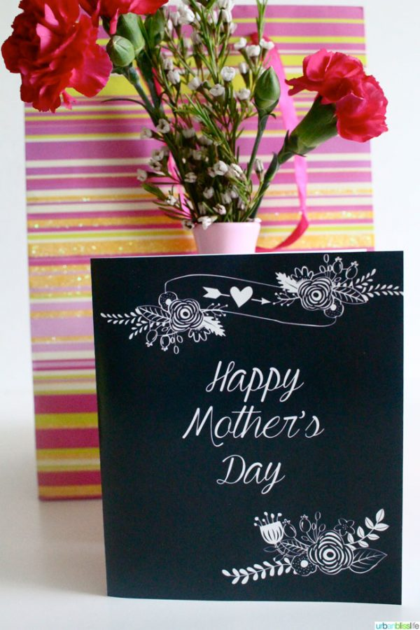 Mother's Day Chalk Floral Cards to print for Mom.