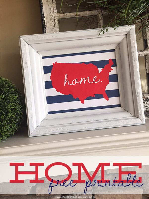 Home American Silhouette that is perfect for 4th of July decor! !FREE 4th of July Printables