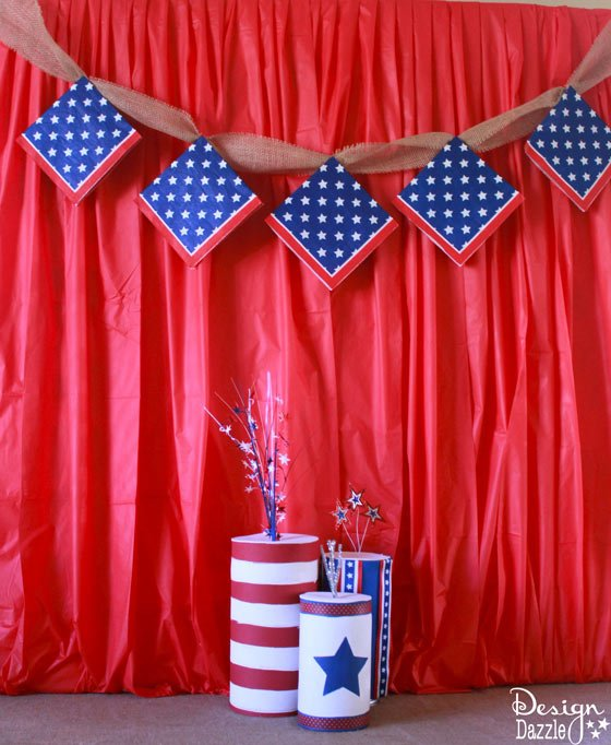The 10 minute Fourth of July backdrop that costs about $5 bucks. Easy Peasy decorating idea for any party. | Design Dazzle