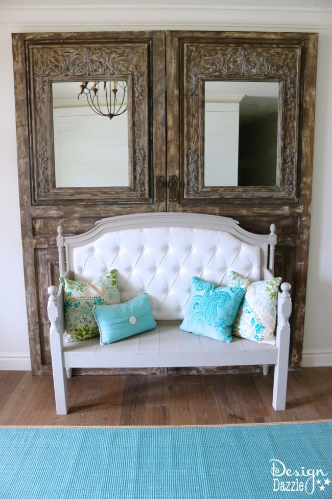 Entryway with old doors bench and sliding wall-3