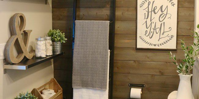Farmhouse modern bathroom styled with IKEA-7