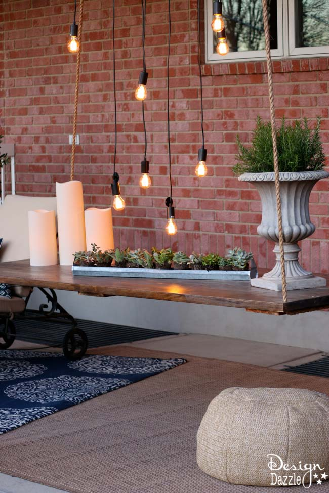 I Created This Hanging Table Along With The Wood Beam Chandelier For The Home  Depot Patio