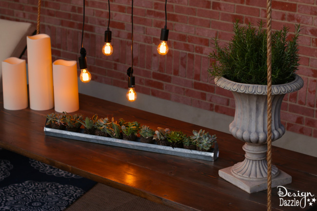 I created this hanging table along with the wood beam chandelier for the Home Depot Patio Challenge. How-to on the blog   Design Dazzle