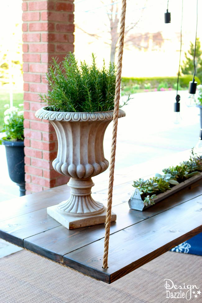 I created this hanging table along with the wood beam chandelier for the Home Depot Patio Challenge. How-to on the blog | Design Dazzle