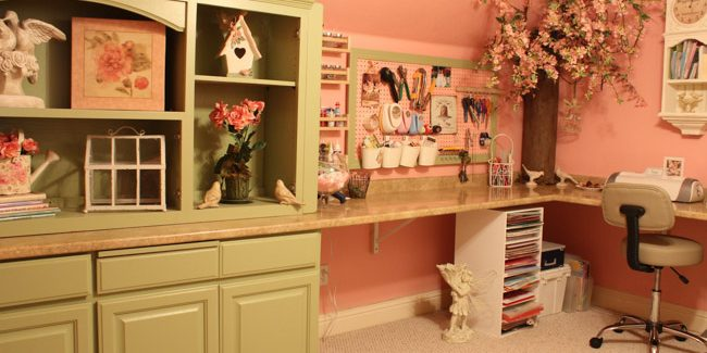 Kitchen Cabinets Made Into Craft Room -3