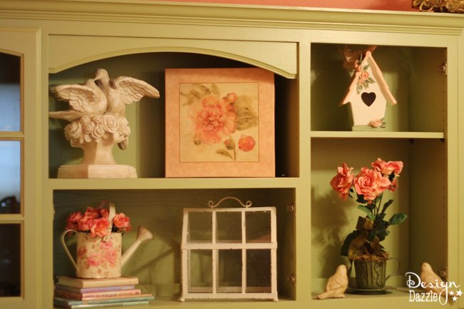 Craft room created using old kitchen cabinets.  I enjoyed turning on the fairy lights and crafting in there! Design Dazzle