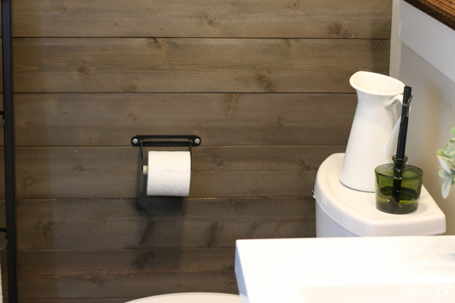 Create A Weathered Rustic Wood Wall With New Wood for a Farmhouse Modern Bathroom|Design Dazzle