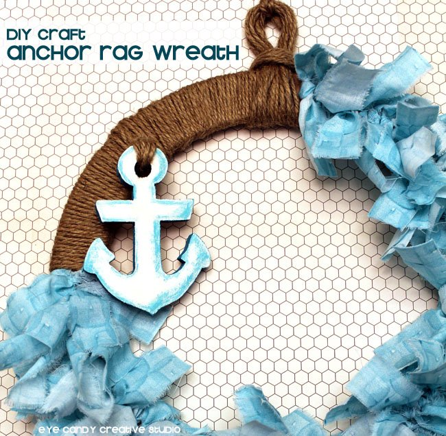 Gorgeous DIY Anchor Rag Wreath! Beautiful summer time wreath!