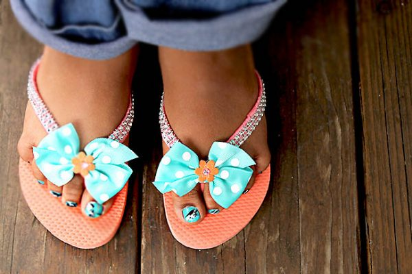 Decorated flip flops as a summer craft activity
