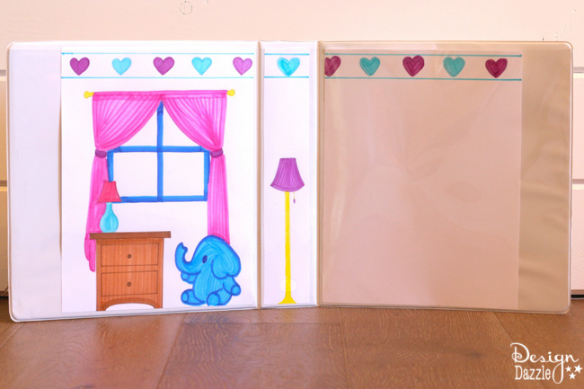 Free Printables for 3 Ring Binder Dollhouse. Easy activity for kids to create their own dollhouse using our printables. Great project for traveling. | Design Dazzle