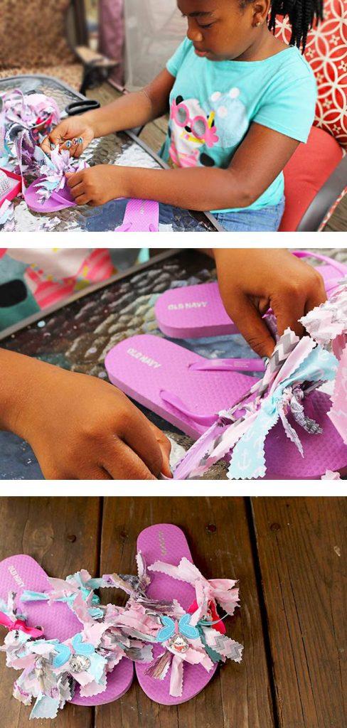 How to make fabric scrap flip flops