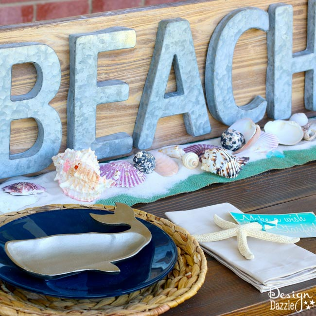 Beach Tablescape Summer Celebration. How to set a beach tablescape! Make a wish upon a starfish free printable! Design Dazzle