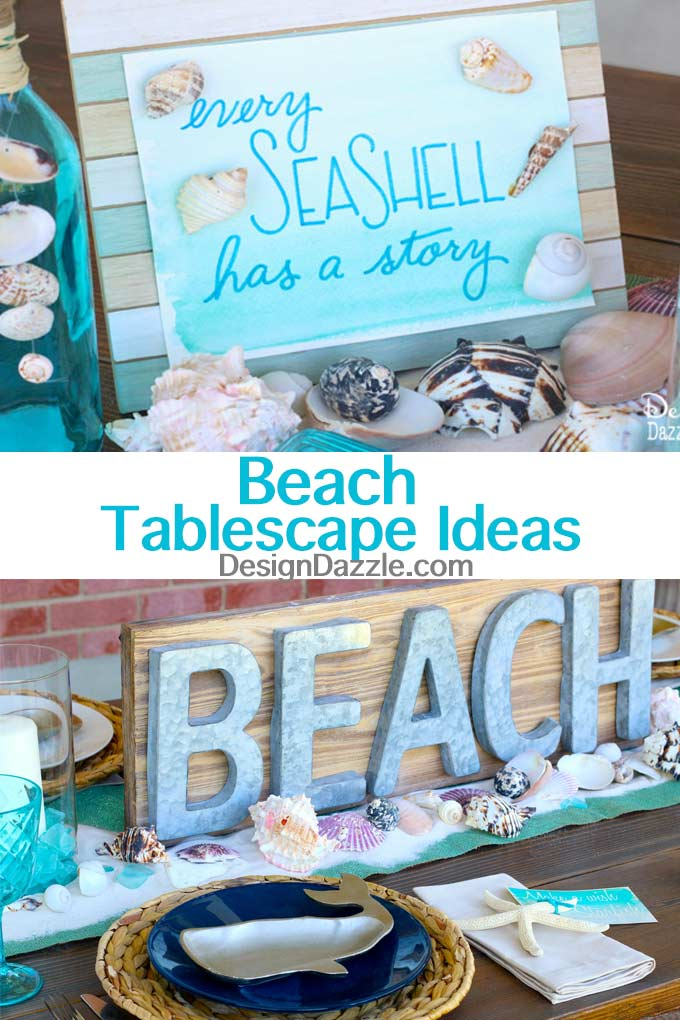 Beach Tablescape Summer Celebration. How to set a beach tablescape! Design Dazzle