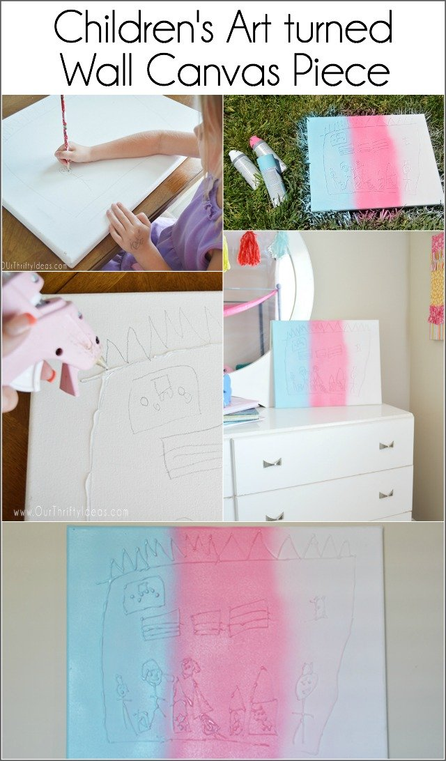 Such a fun way to turn your child's drawings into a piece of wall art!
