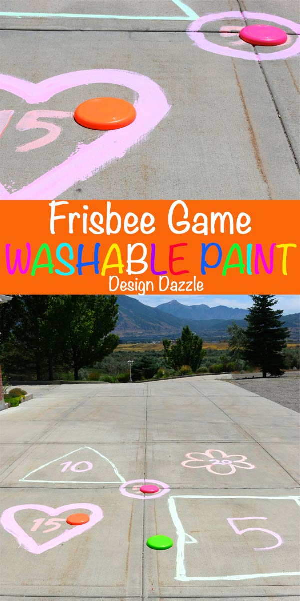 Kids game to help with summertime boredom! Frisbee game with outdoor washable paint | Design Dazzle
