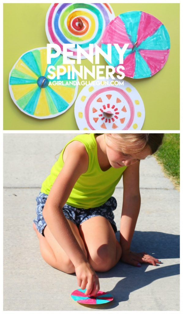 Penny Spinner Craft for kids! Awesome kid craft for the summer!