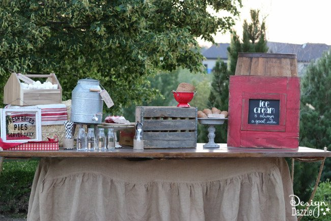 Ideas for hosting an outdoor movie night! Step by step tutorial on how to set a darling farm theme refreshment table   Design Dazzle