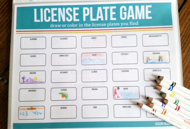 License Plate Game as part of the Road Trip Kit! Perfect for summer vacations!