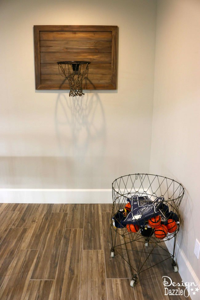This unique indoor basketball hoop matches this contemporary home's decor - Click for full tour! | Design Dazzle