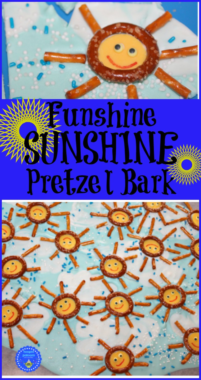 Funshine Sunshine Ptretzel Bark for a summer treat! Fun to make and even more delicious to eat! Great summer yummy!