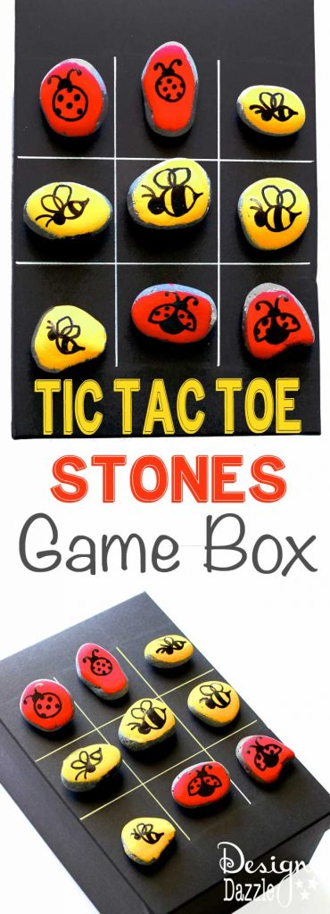 Tic tac toe is a classic game that keeps kids entertained! Paint your own stones and create your own game box for your very own tic tac toe game. | Design Dazzle