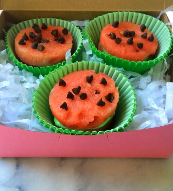 watermelon in pink box