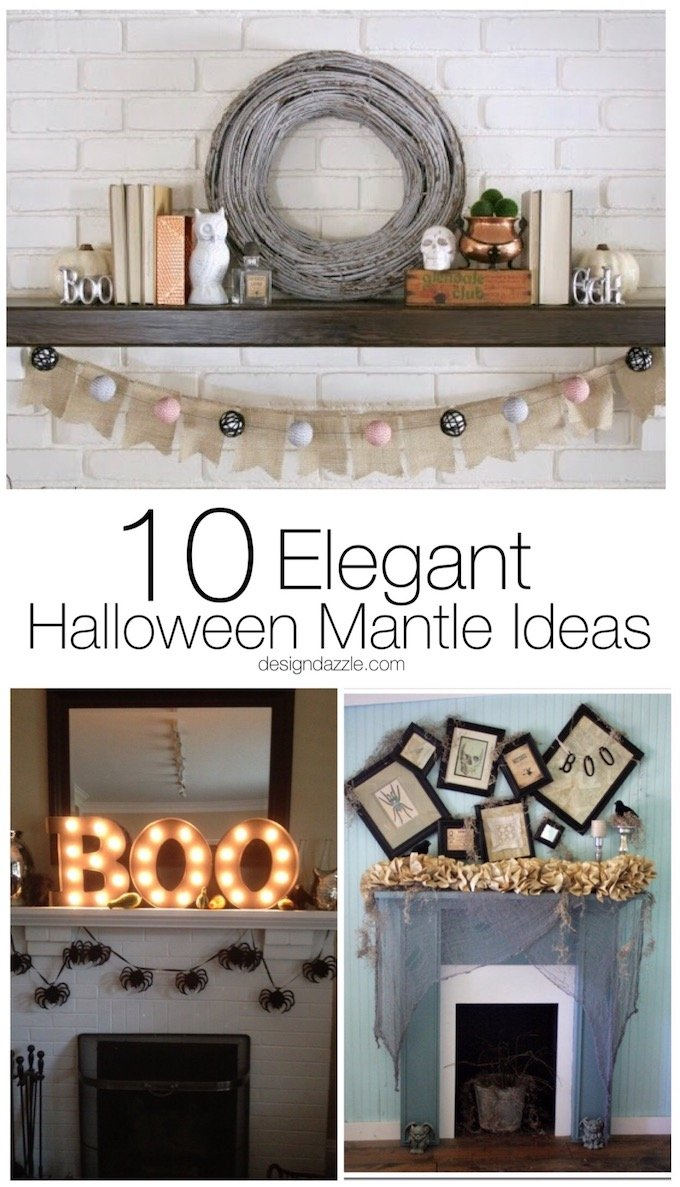 10 of my favorite Halloween mantle ideas that are elegant with a dash of spooky and a pinch of fun! | DIY halloween mantles | decorating for halloween | halloween home decor ideas | easy halloween mantle ideas | trendy halloween mantle decor || Design Dazzle